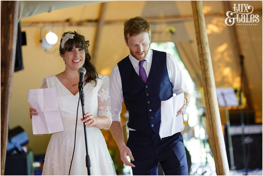 Bride & groom speech at tipi wedding in Altrincham Tux & Tales Photography