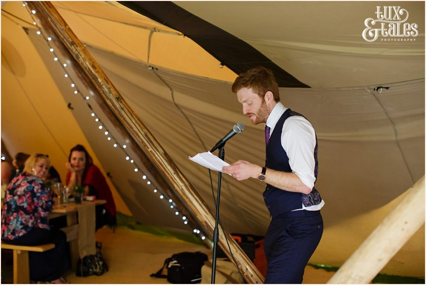 groom speech at tipi wedding in Altrincham Tux & Tales Photography