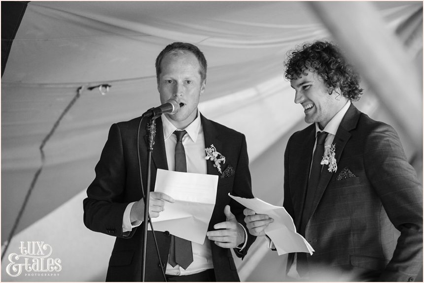 Best man speech at tipi wedding in Altrincham Tux & Tales Photography