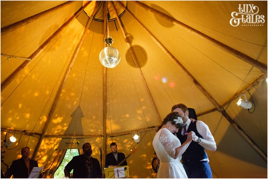 First dance at a tipi wedding in the back garden in Altrincham