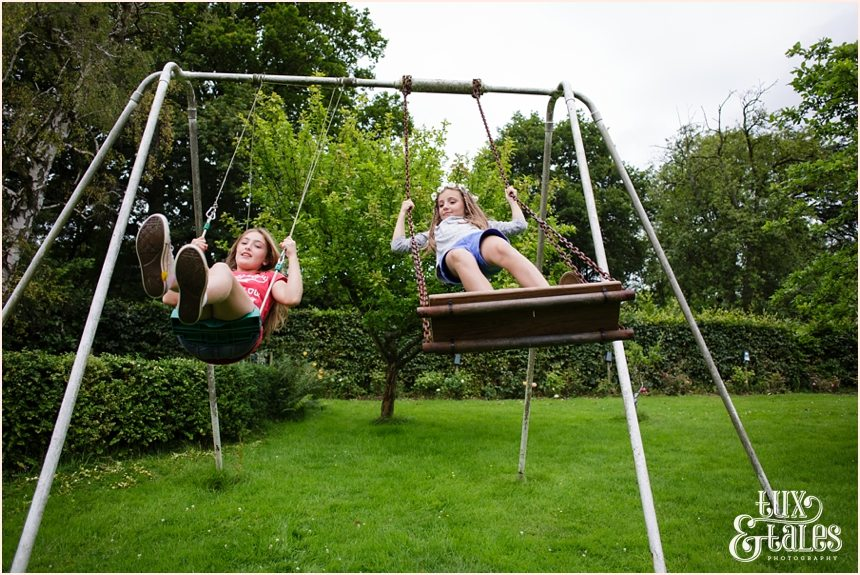 Woodlands B & B Wedding Photography girls on swing