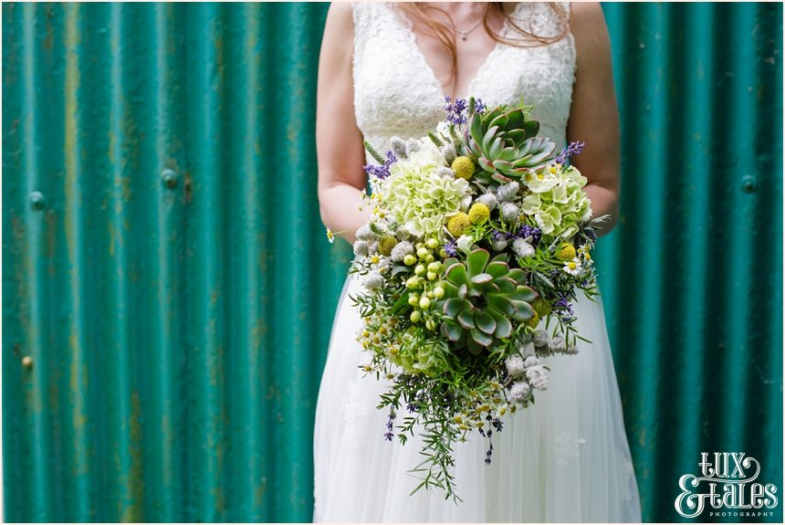 Avoncroft Museum Wedding Photography green church succulent bouquet Tux & Tales Photography