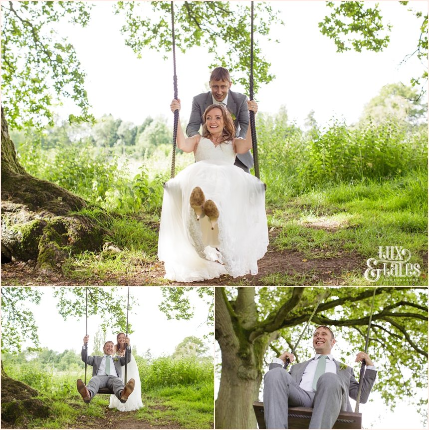 Woodlands B&B Wedding Photographer bride on swing Tux & Tales Photography