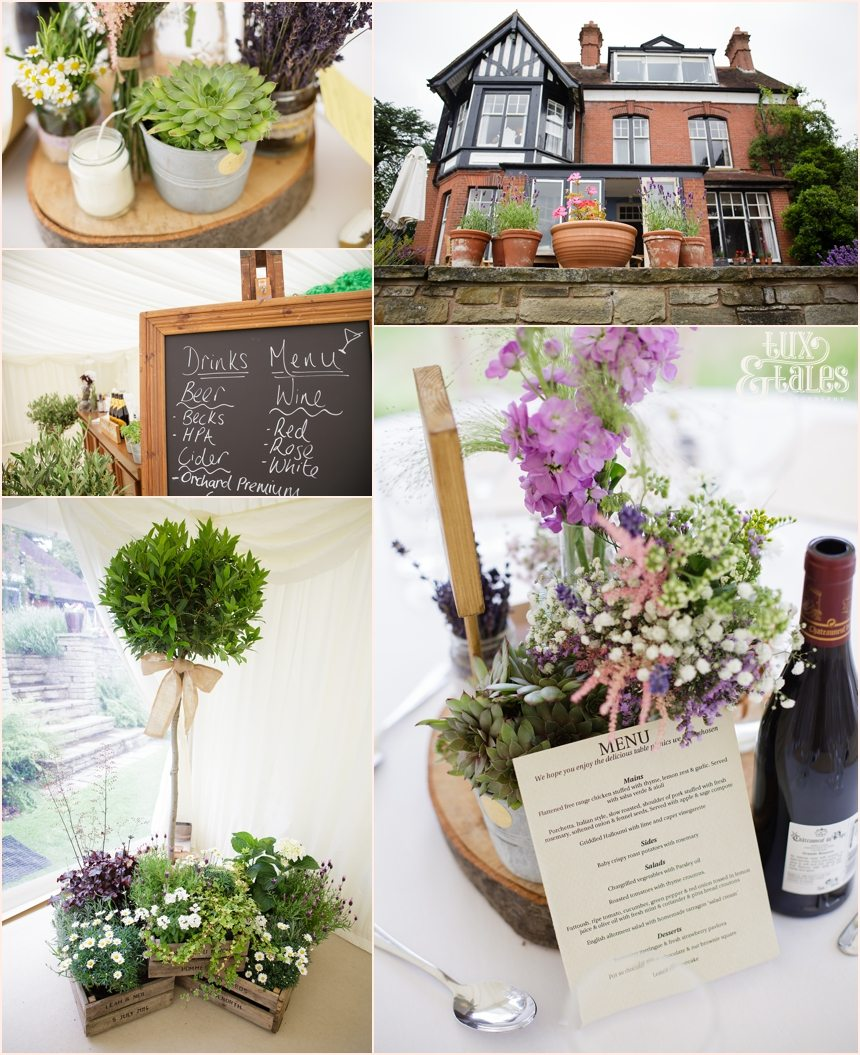 Succulent themed wedding bohemian details at Woodlands B&B