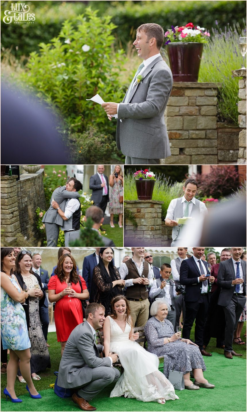 Woodlands B&B Wedding photographer outdoor speeches by marquee