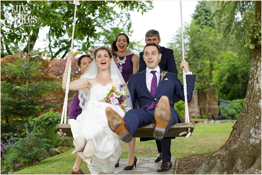 Broadoaks Wedding Photographer Windermere || Tux & Tales Photography || Bride & groom on swing