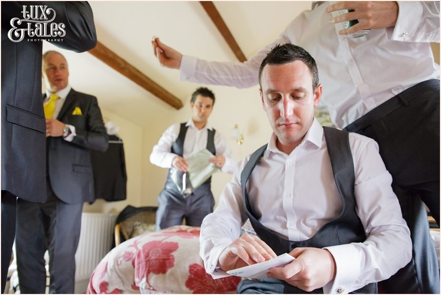 Groom preparation at Newton Grange opening letter