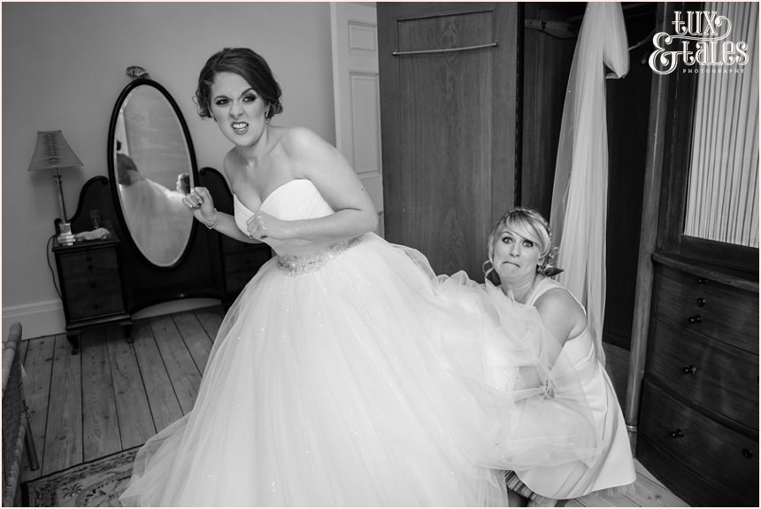Bride makes funnt faces Newton Grange Wedding Photography