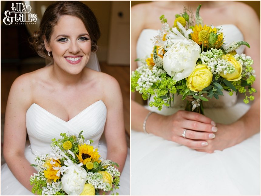 Bride hods yellow bouquet Newton Grange Wedding Photography