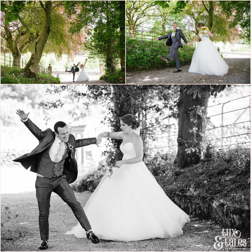 Bride & groom do silly walk Taitlands Wedding photography