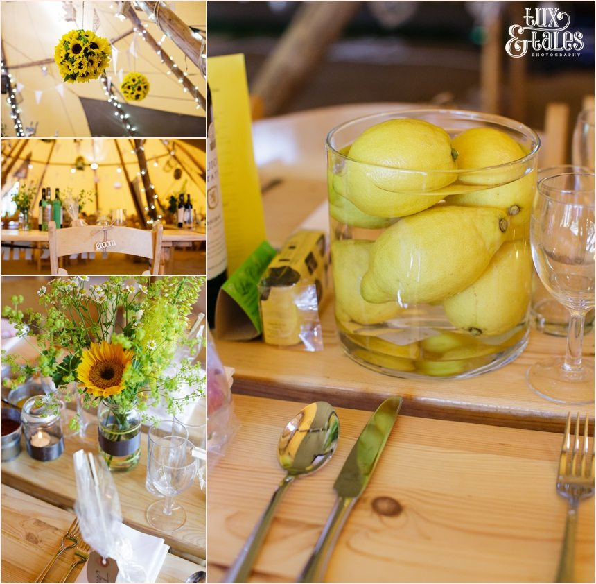 Newton Grange Wedding yellow green festival tipi themed wedding