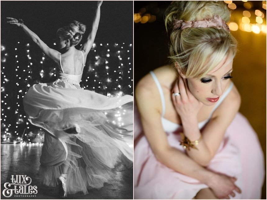 ballet themed York Wedding Photographer Bohemian Bride Danby Castle Tux & Tales Photographer Wool, Tulle wood & ballerina