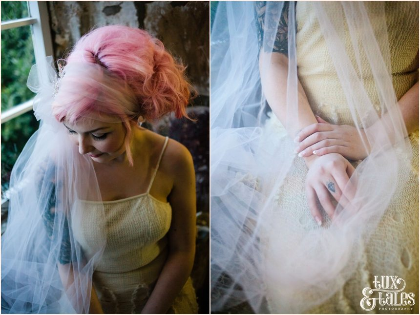 York Wedding Photographer Bohemian Bride Danby Castle Tux & Tales Photographer Wool, Tulle wood & ballerina