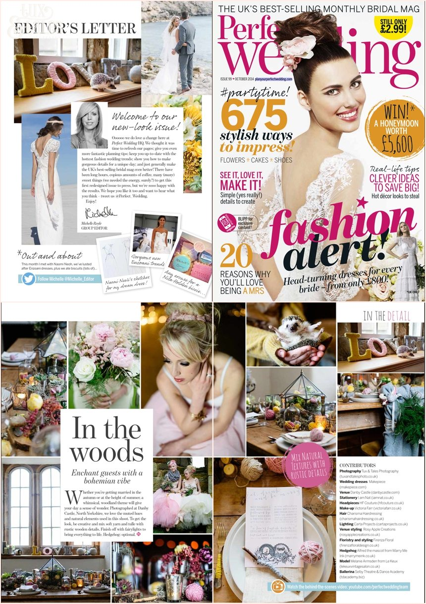 Perfect wedding magazine feature wool tulle wood October 2014