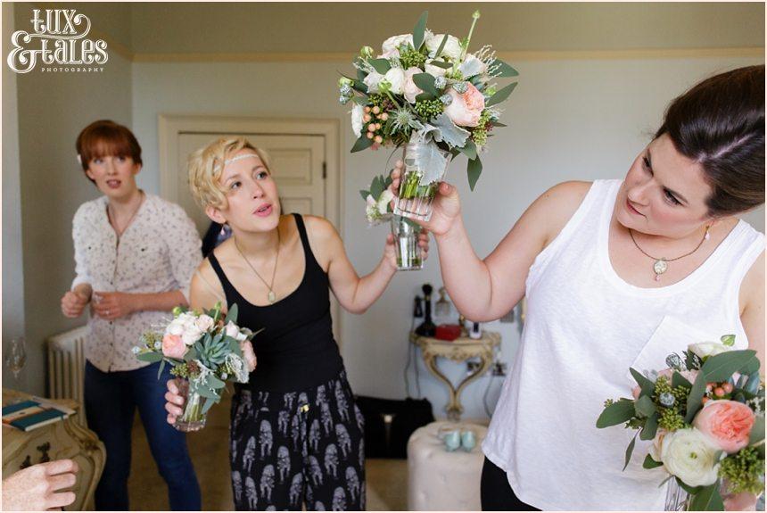 Bride Preparation Photography at Newton Hall beachside wedding | Pink flowers