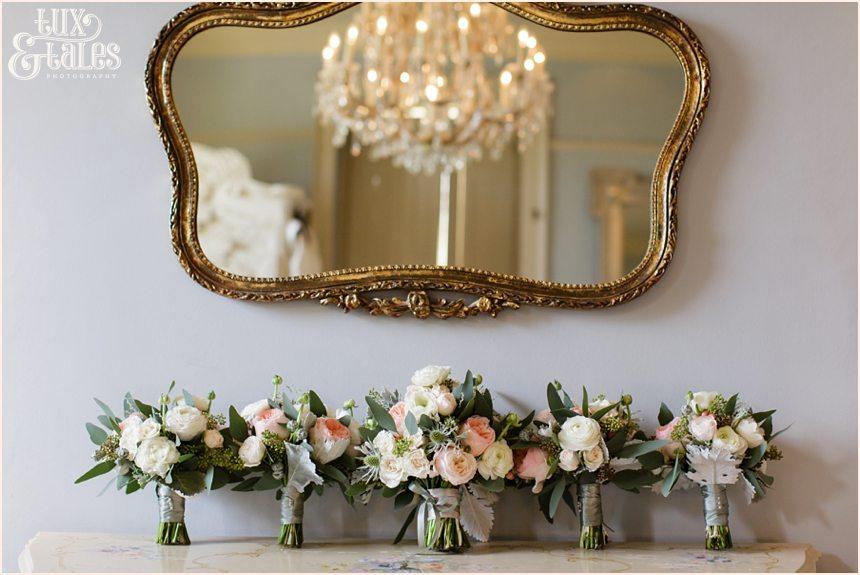 Bride Preparation Photography at Newton Hall beachside wedding | Pink pastel bouquets
