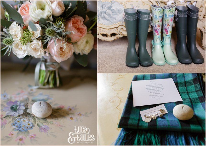 Bride Preparation Photography at Newton Hall beachside wedding | Wellies & tartan details