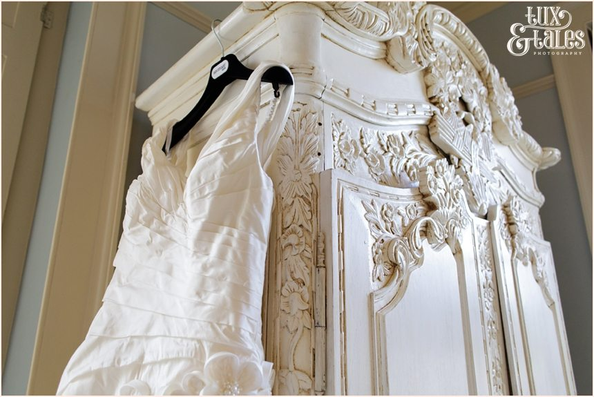 Bride Preparation Photography at Newton Hall beachside wedding | Ian Stuart Dress