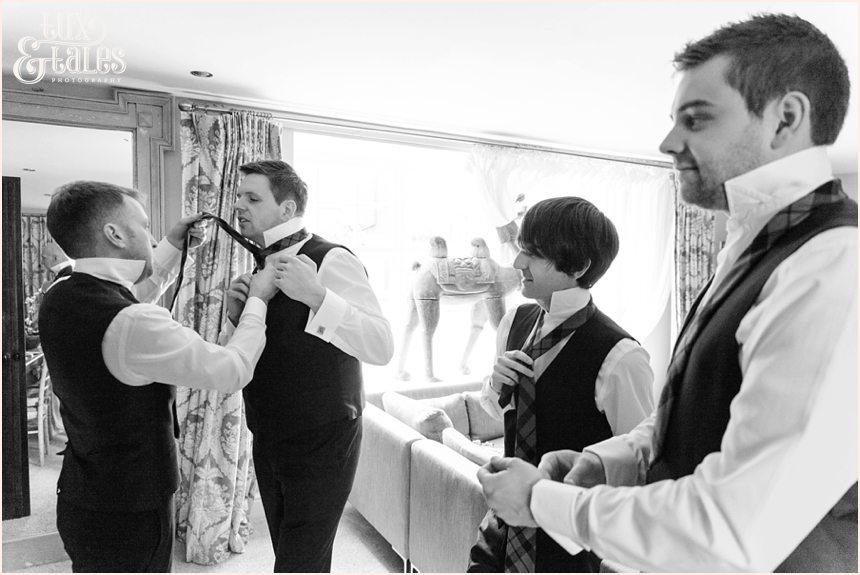 Groom Preparation Photography at Newton Hall beachside wedding