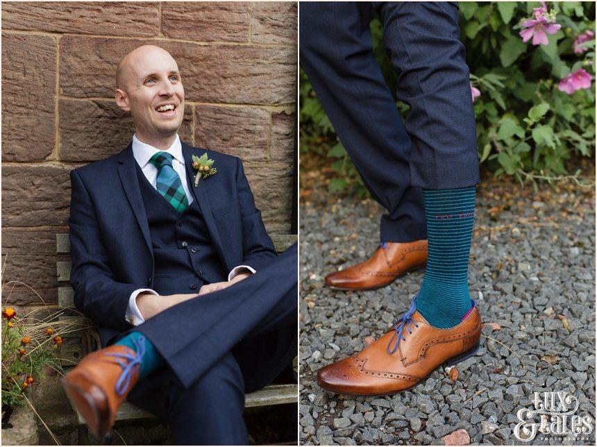 Groom Preparation Photography at Newton Hall beachside wedding | Blue tartan details