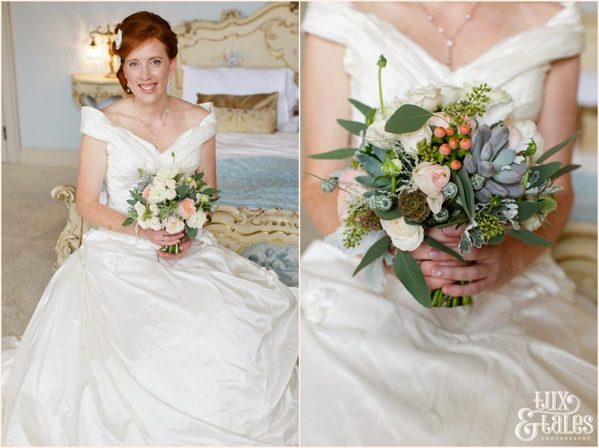 Bride Preparation Photography at Newton Hall beachside wedding | Portraits with pastel flowers