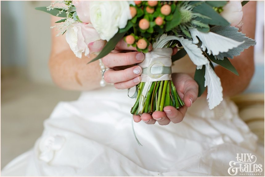 Bride Preparation Photography at Newton Hall beachside wedding | shell bouquet details