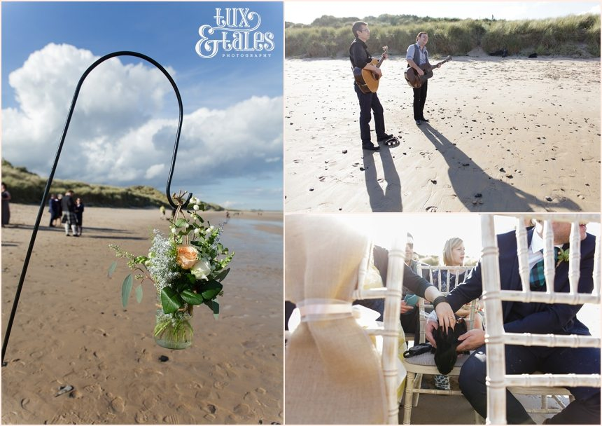 Ceremony Photography at Newton Hall beachside wedding | Bunny as guest