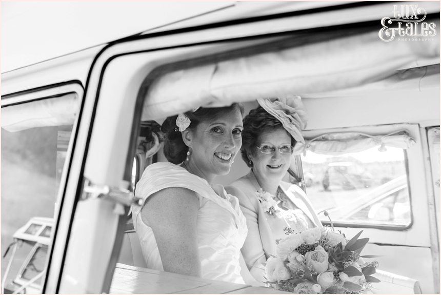 Ceremony Photography at Newton Hall beachside wedding | Bride's arrival with mum