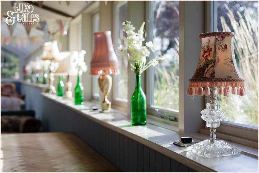eclectic lamps themed wedding details at Newton Hall beachside wedding