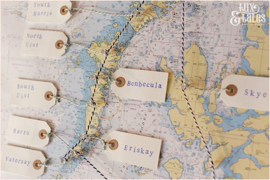 Tartan & beach  themed wedding details at Newton Hall beachside wedding | Scottish Isles seating plan map