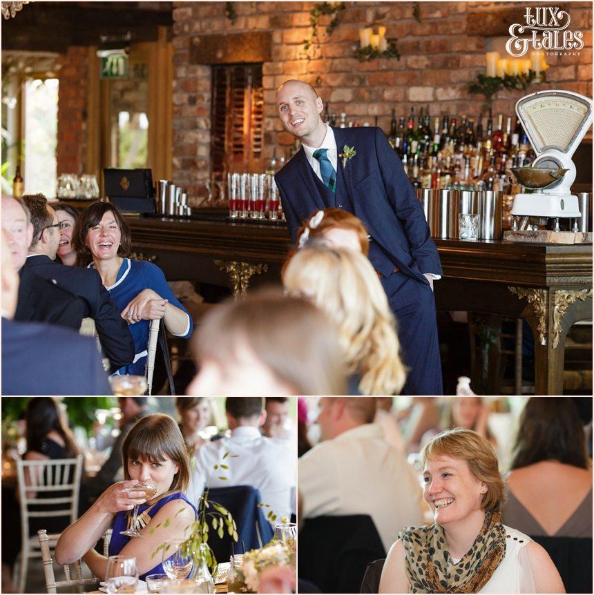 Speeches & laughing at Newton Hall beachside wedding