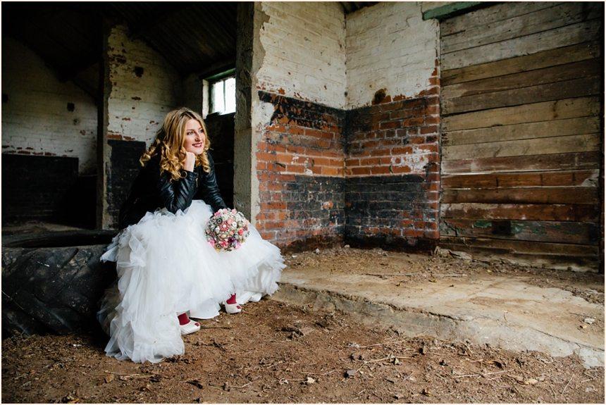York trash the dress photography in an abandoned barn