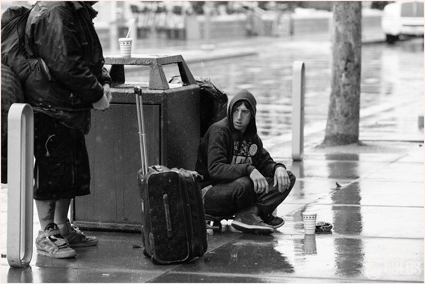 San Francisco Photography - Homeless man making an angry expression
