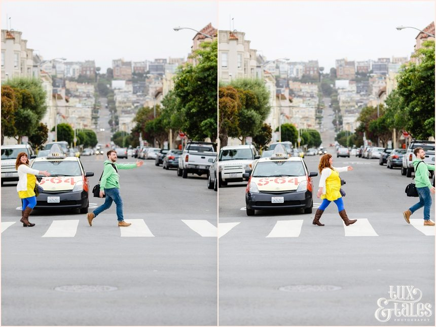 San Francisco Photography - Zoe Barrie and Paul Clapperton Walking Silly across the street