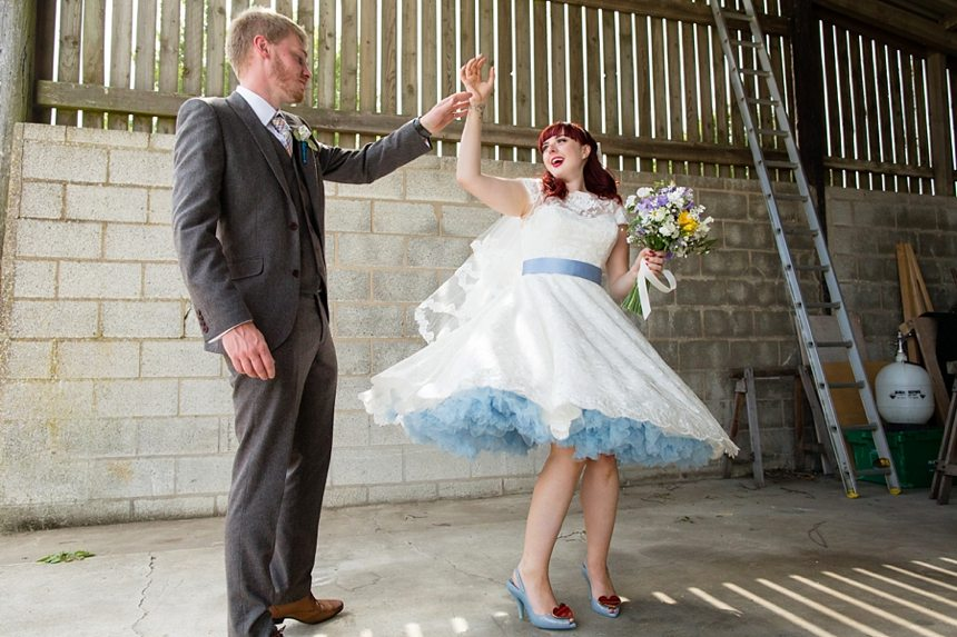 Barmbyfield Barn Wedding Photography Quirky Relaxed Informal Bride and Groom Portraits