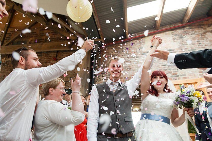 Barmbyfield Barn Wedding Photography Relaxed Informal Confetti