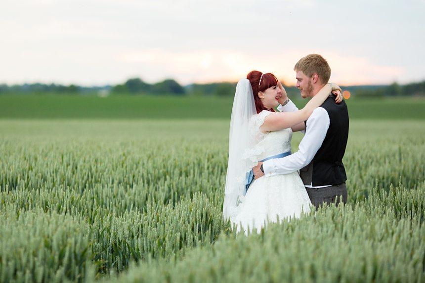 Barmbyfield Barn Wedding Photography Bride & Groom Portraits in Barley Field