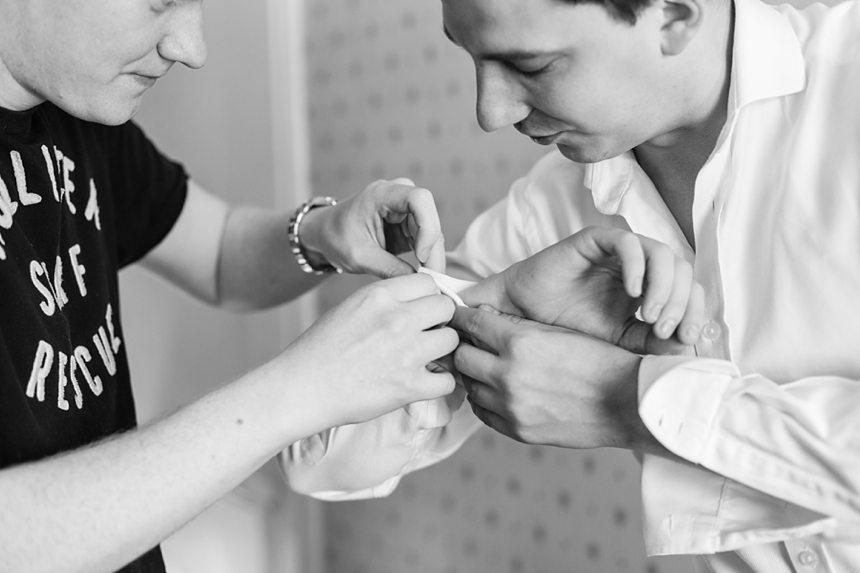 Barmbyfield Barn Wedding Photographer groom preparation