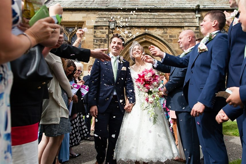Barmbyfield Barn Wedding Photographer St. Catherines Church Ceremony confetti