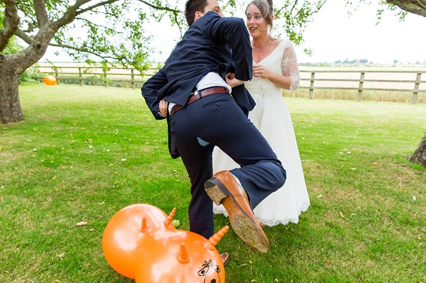 Barmbyfield Barn Wedding Photographer tandem spacehopper