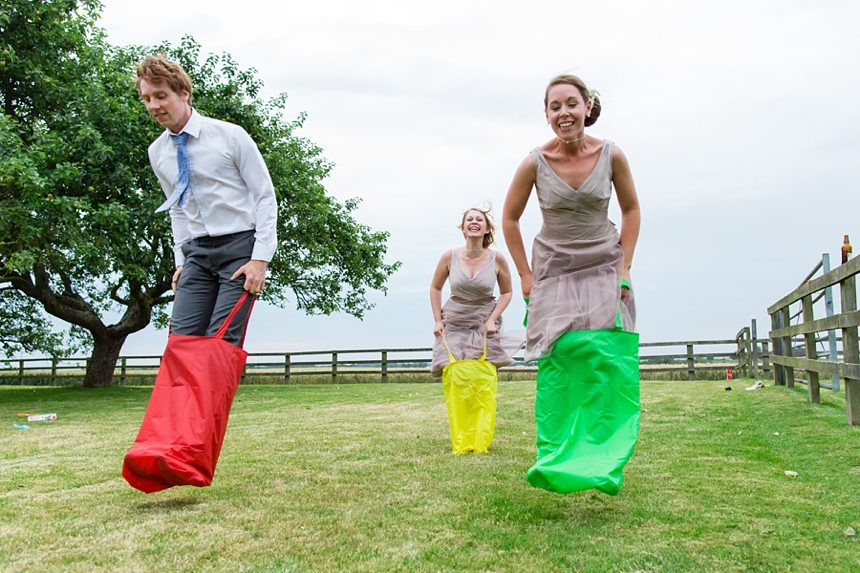 Barmbyfield Barn Wedding Photographer potatoe sack race