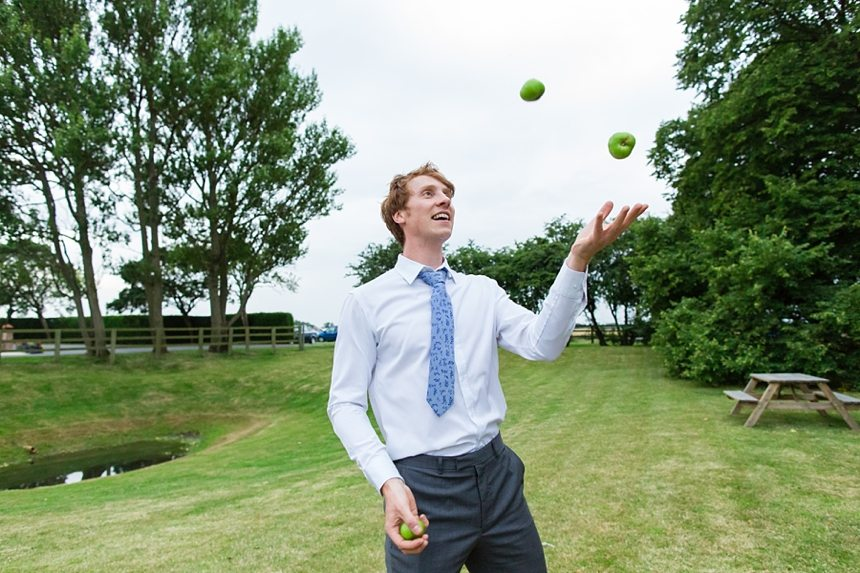 Barmbyfield Barn Wedding Photographer juggling