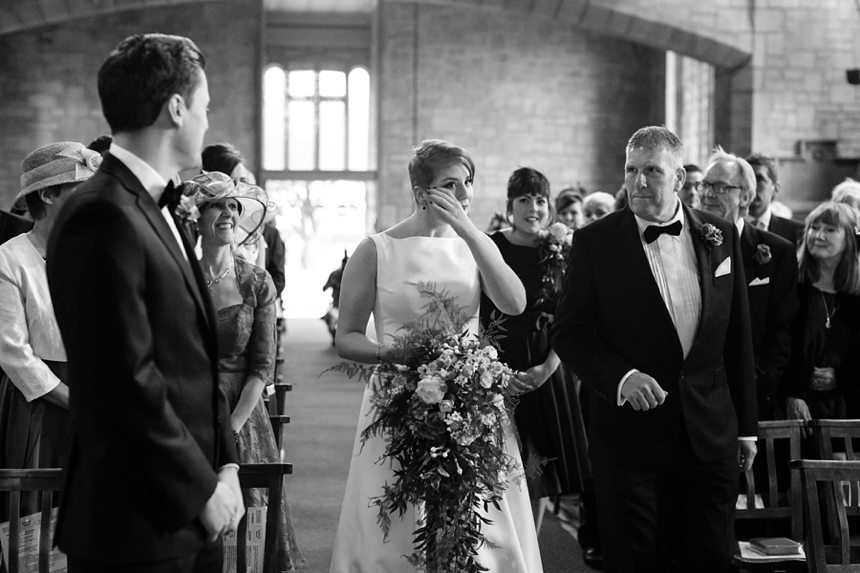 Leeds Club Wedding Photography Ceremony Bride cries