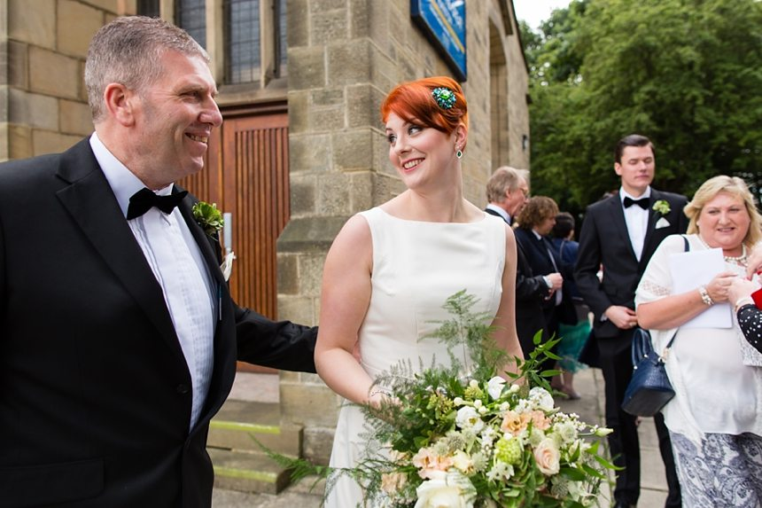 Leeds Club Wedding Photography Ceremony Bride Smiles at Dad