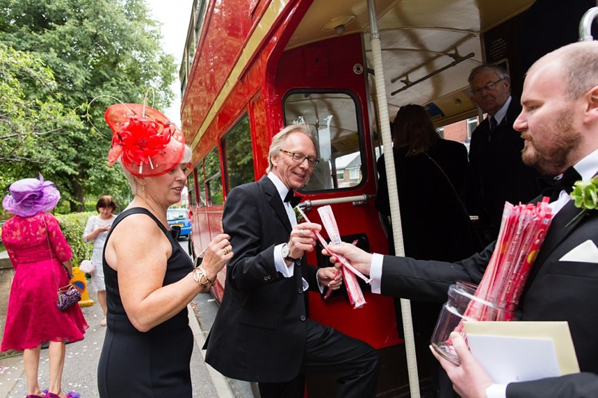 Leeds Club Wedding Photography Ceremony Double Decker Bus