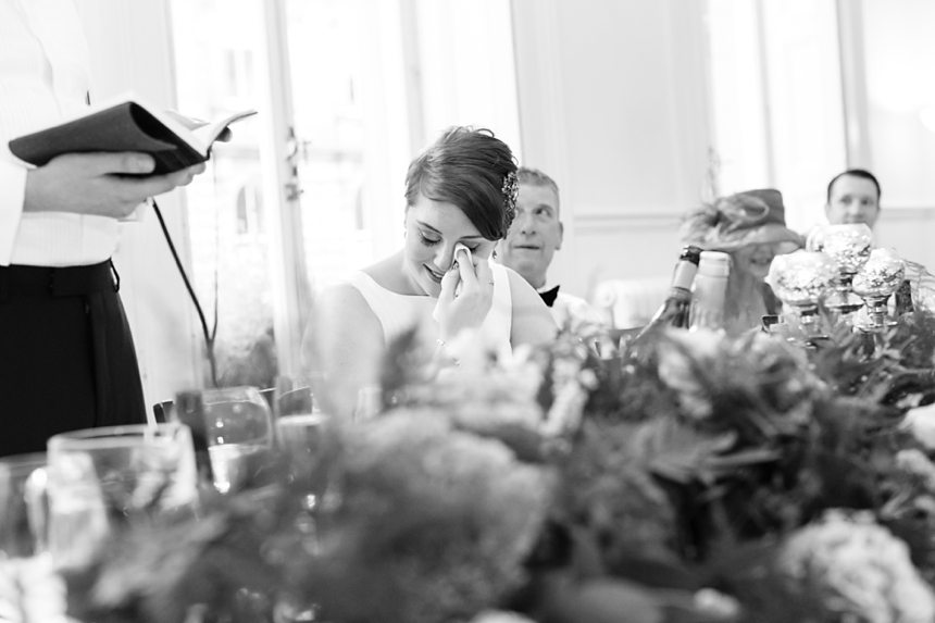 Leeds Club Wedding Photography Speeches Bride Crying