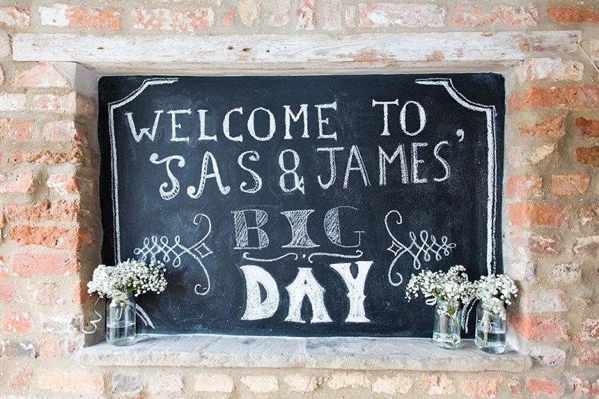 Chalkboard wedding sign Barmbyfield Barn