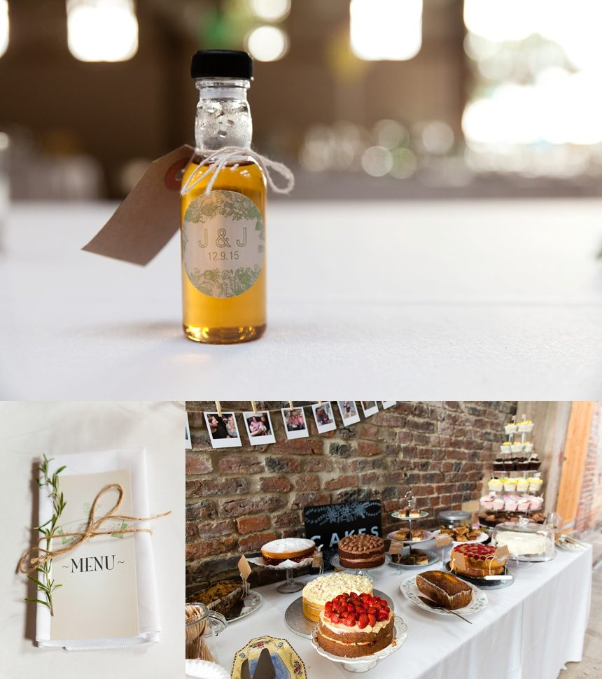 DIY wedding decorations including strawberry cake and rosemary table names