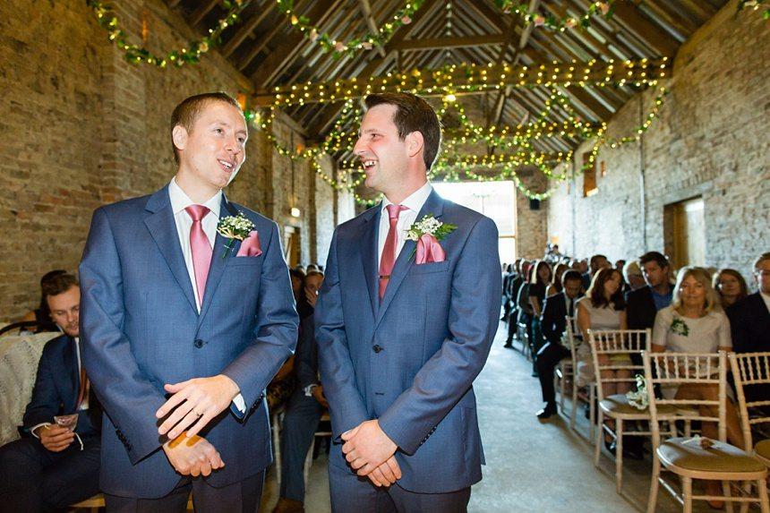 Groom waits for bride Barmbyfield Barn Wedding