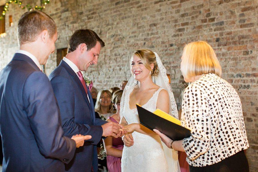 Exchange of rings Barmbyfield Barn Wedding